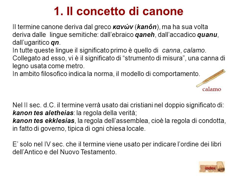 1. Il concetto di canone Il termine canone deriva dal greco κανών (kanôn), ma ha sua volta deriva dalle lingue semitiche: dallebraico qaneh, dallaccad