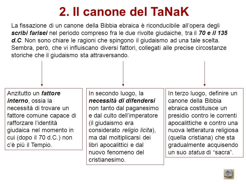 2. Il canone del TaNaK La fissazione di un canone della Bibbia ebraica è riconducibile allopera degli scribi farisei nel periodo compreso fra le due r