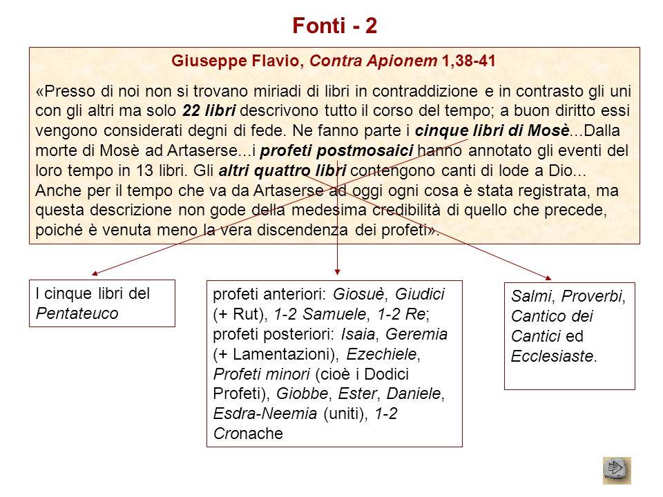 Fonti - 2 Giuseppe Flavio, Contra Apionem 1,38-41 «Presso di noi non si trovano miriadi di libri in contraddizione e in contrasto gli uni con gli altr