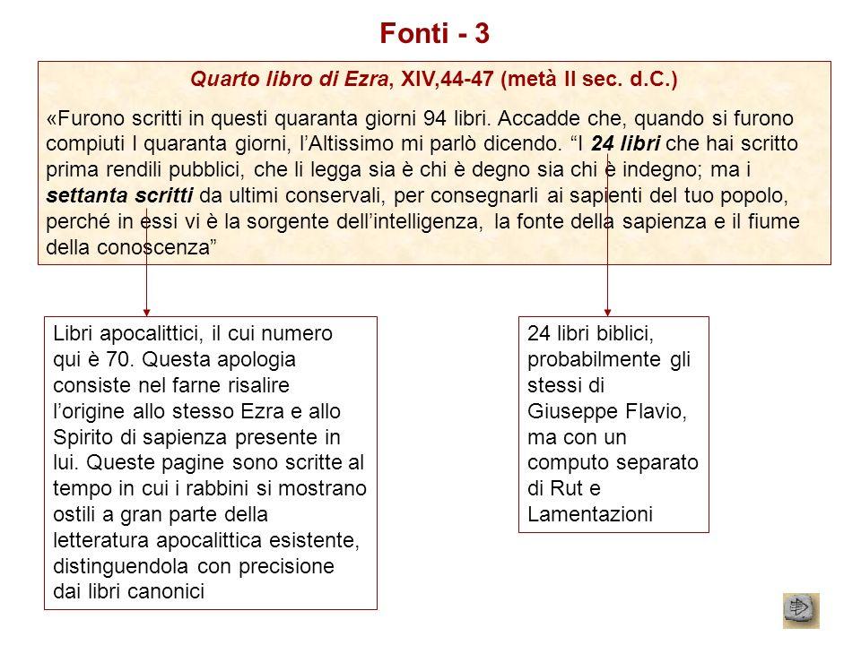 Fonti - 3 Quarto libro di Ezra, XIV,44-47 (metà II sec. d.C.) «Furono scritti in questi quaranta giorni 94 libri. Accadde che, quando si furono compiu