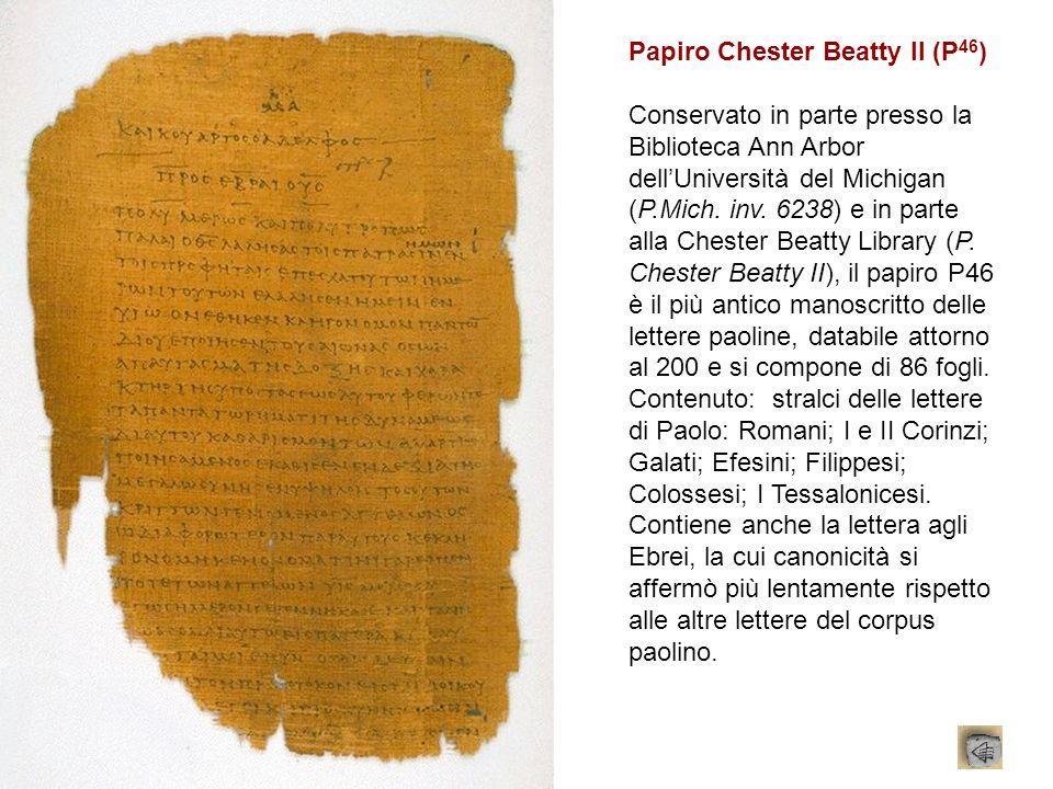 Papiro Chester Beatty II (P 46 ) Conservato in parte presso la Biblioteca Ann Arbor dellUniversità del Michigan (P.Mich. inv. 6238) e in parte alla Ch