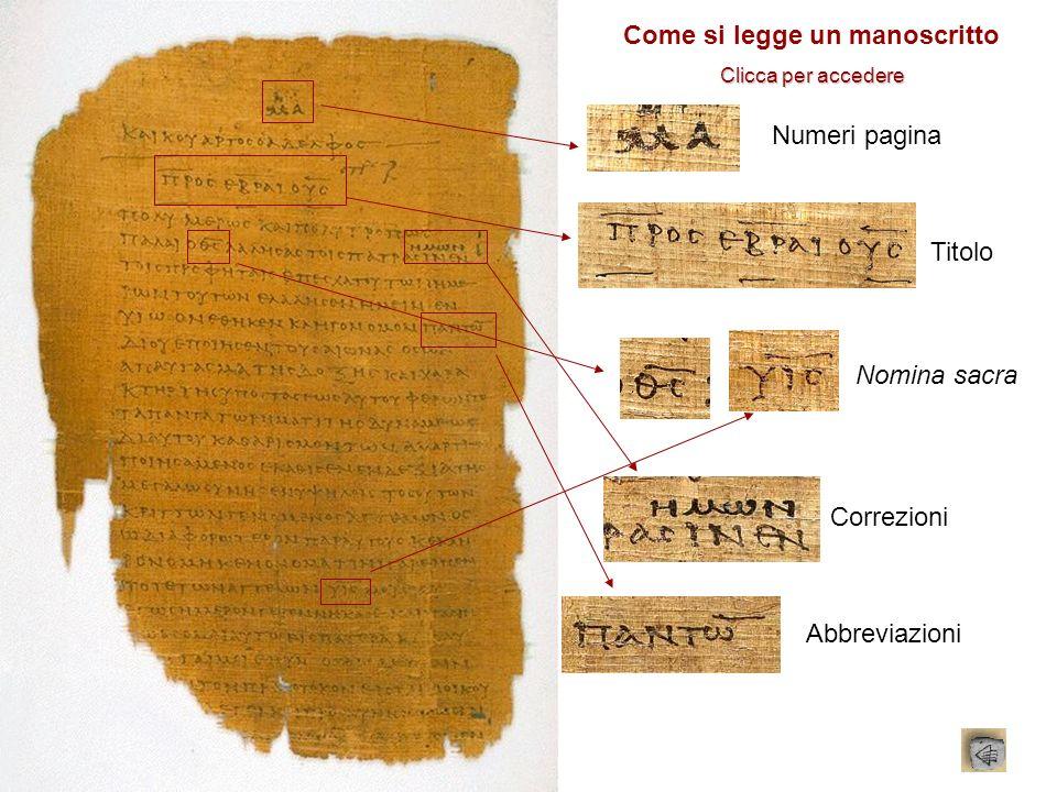 Numeri pagina Titolo Nomina sacra Correzioni Abbreviazioni Come si legge un manoscritto Clicca per accedere