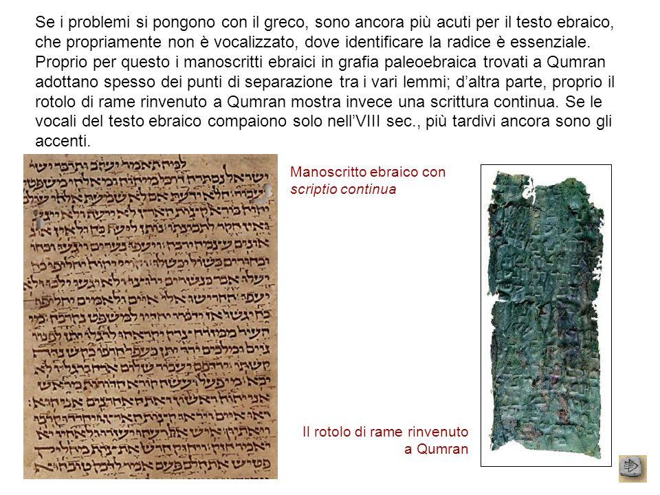 Se i problemi si pongono con il greco, sono ancora più acuti per il testo ebraico, che propriamente non è vocalizzato, dove identificare la radice è e