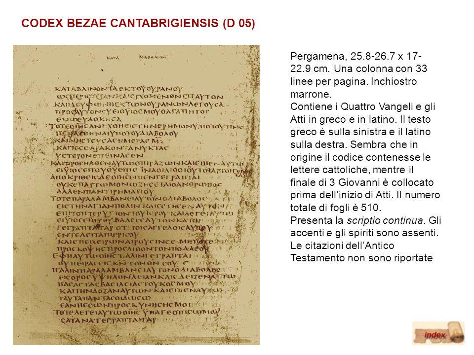 CODEX BEZAE CANTABRIGIENSIS (D 05) Pergamena, 25.8-26.7 x 17- 22.9 cm. Una colonna con 33 linee per pagina. Inchiostro marrone. Contiene i Quattro Van