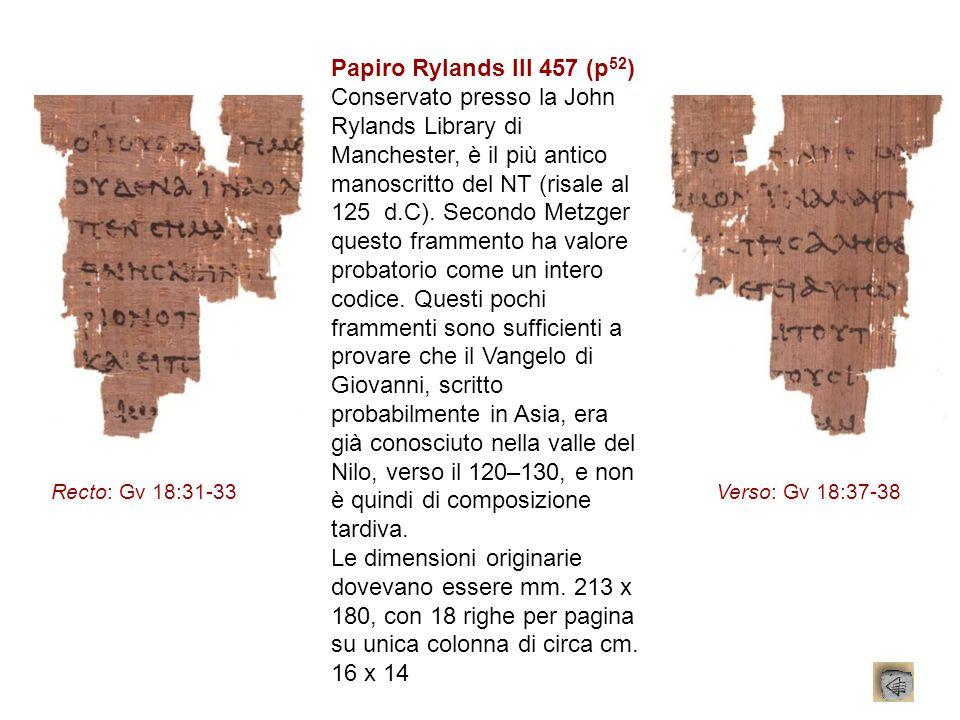 Papiro Rylands III 457 (p 52 ) Conservato presso la John Rylands Library di Manchester, è il più antico manoscritto del NT (risale al 125 d.C). Second