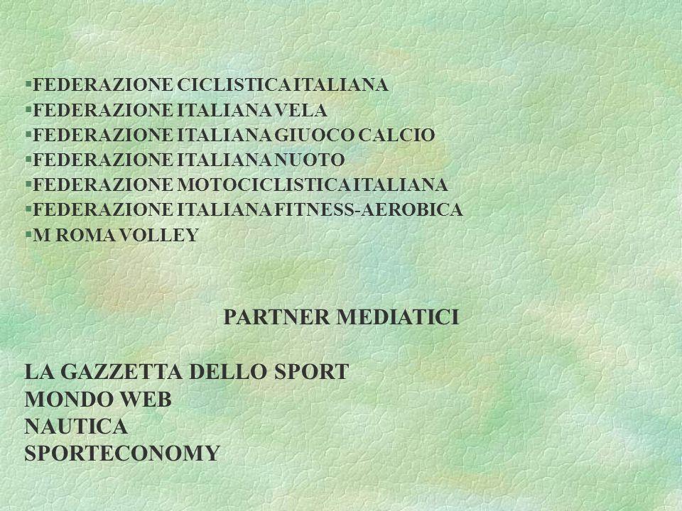 §FEDERAZIONE CICLISTICA ITALIANA §FEDERAZIONE ITALIANA VELA §FEDERAZIONE ITALIANA GIUOCO CALCIO §FEDERAZIONE ITALIANA NUOTO §FEDERAZIONE MOTOCICLISTICA ITALIANA §FEDERAZIONE ITALIANA FITNESS-AEROBICA §M ROMA VOLLEY PARTNER MEDIATICI LA GAZZETTA DELLO SPORT MONDO WEB NAUTICA SPORTECONOMY