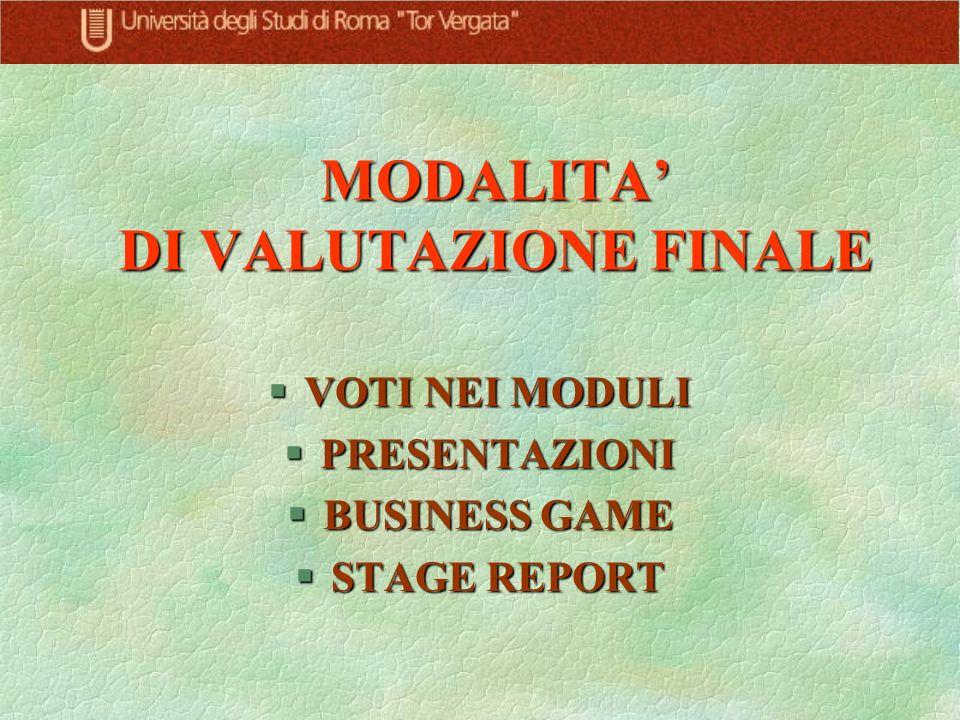 MODALITA DI VALUTAZIONE FINALE §VOTI NEI MODULI §PRESENTAZIONI §BUSINESS GAME §STAGE REPORT