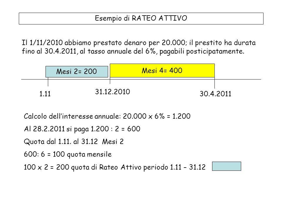 Esempio di RATEO ATTIVO Il 1/11/2010 abbiamo prestato denaro per 20.000; il prestito ha durata fino al 30.4.2011, al tasso annuale del 6%, pagabili posticipatamente.