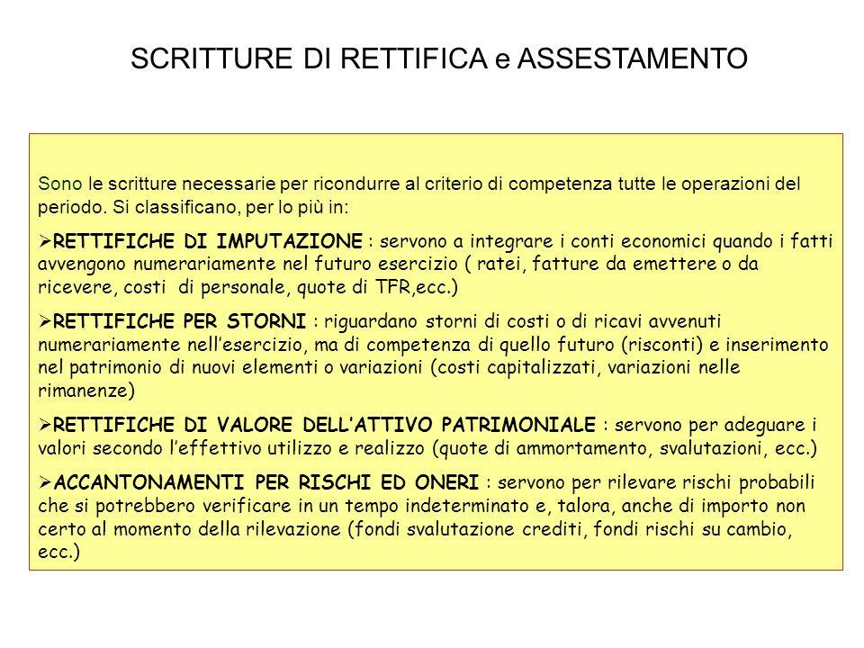 SCRITTURE DI RETTIFICA e ASSESTAMENTO Sono le scritture necessarie per ricondurre al criterio di competenza tutte le operazioni del periodo. Si classi