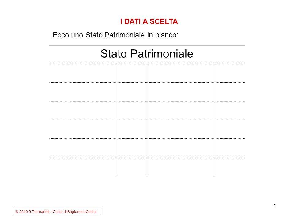 1 Stato Patrimoniale I DATI A SCELTA Ecco uno Stato Patrimoniale in bianco: © 2010 G.Termanini – Corso di RagioneriaOnline