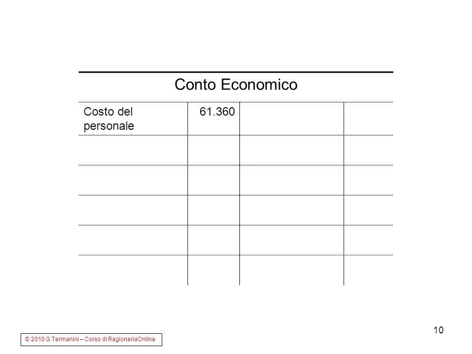 10 Conto Economico Costo del personale 61.360 © 2010 G.Termanini – Corso di RagioneriaOnline