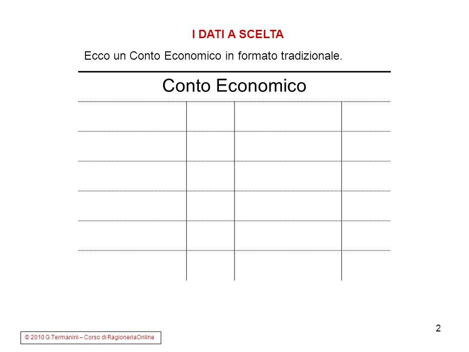2 Conto Economico © 2010 G.Termanini – Corso di RagioneriaOnline I DATI A SCELTA Ecco un Conto Economico in formato tradizionale.