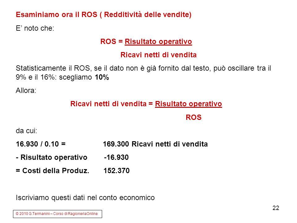 22 Esaminiamo ora il ROS ( Redditività delle vendite) E noto che: ROS = Risultato operativo Ricavi netti di vendita Statisticamente il ROS, se il dato