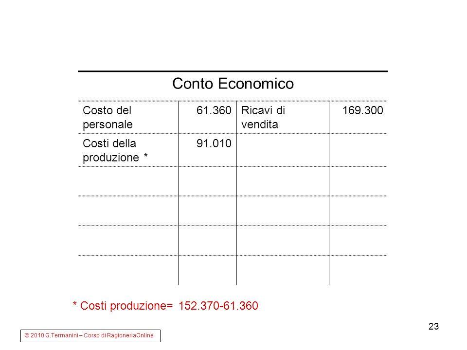 23 Conto Economico Costo del personale 61.360Ricavi di vendita 169.300 Costi della produzione * 91.010 © 2010 G.Termanini – Corso di RagioneriaOnline