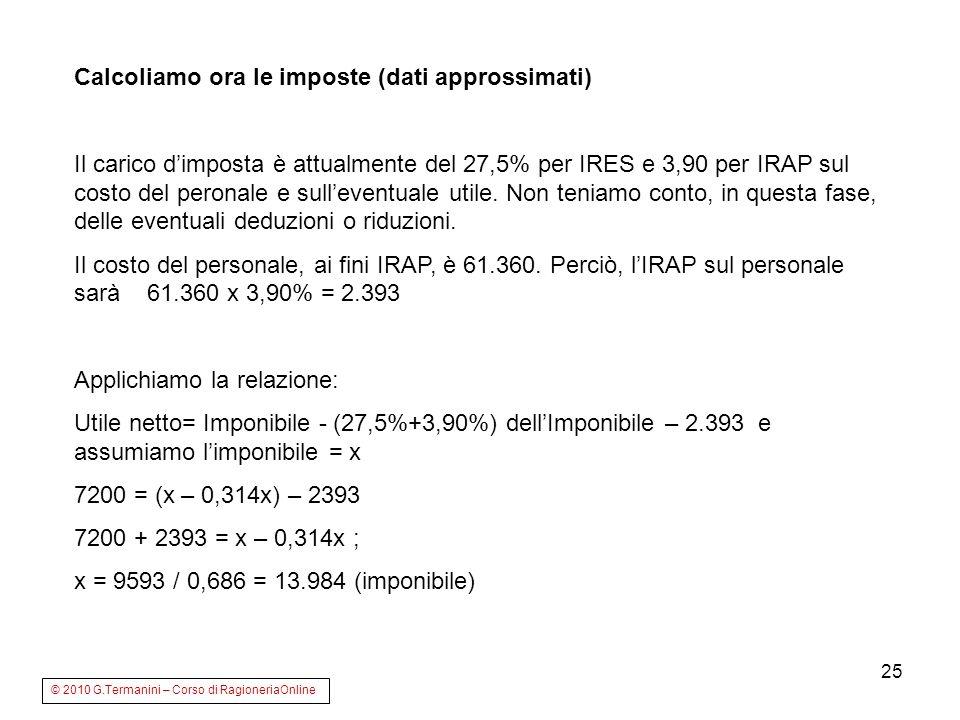 25 Calcoliamo ora le imposte (dati approssimati) Il carico dimposta è attualmente del 27,5% per IRES e 3,90 per IRAP sul costo del peronale e sulleven