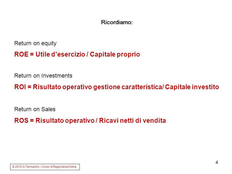 4 Ricordiamo: Return on equity ROE = Utile desercizio / Capitale proprio Return on Investments ROI = Risultato operativo gestione caratteristica/ Capi