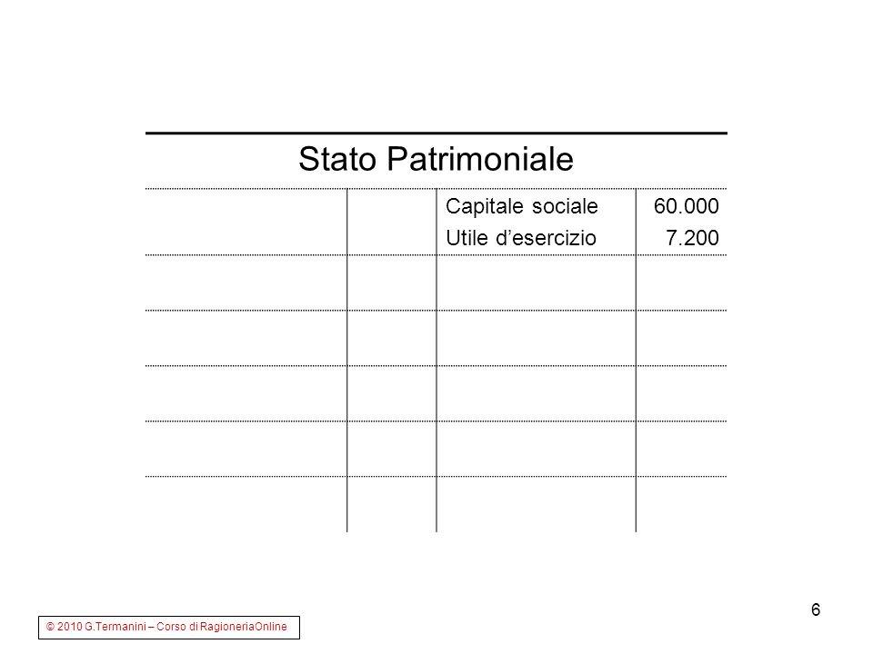 6 Stato Patrimoniale Capitale sociale Utile desercizio 60.000 7.200 © 2010 G.Termanini – Corso di RagioneriaOnline