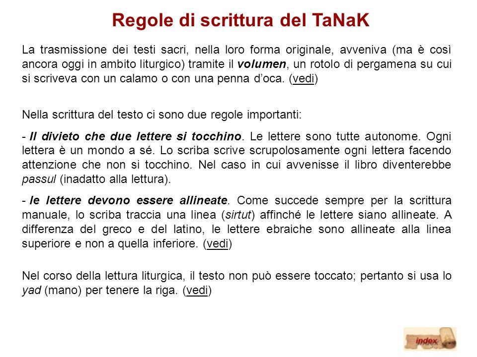 Regole di scrittura del TaNaK La trasmissione dei testi sacri, nella loro forma originale, avveniva (ma è così ancora oggi in ambito liturgico) tramit