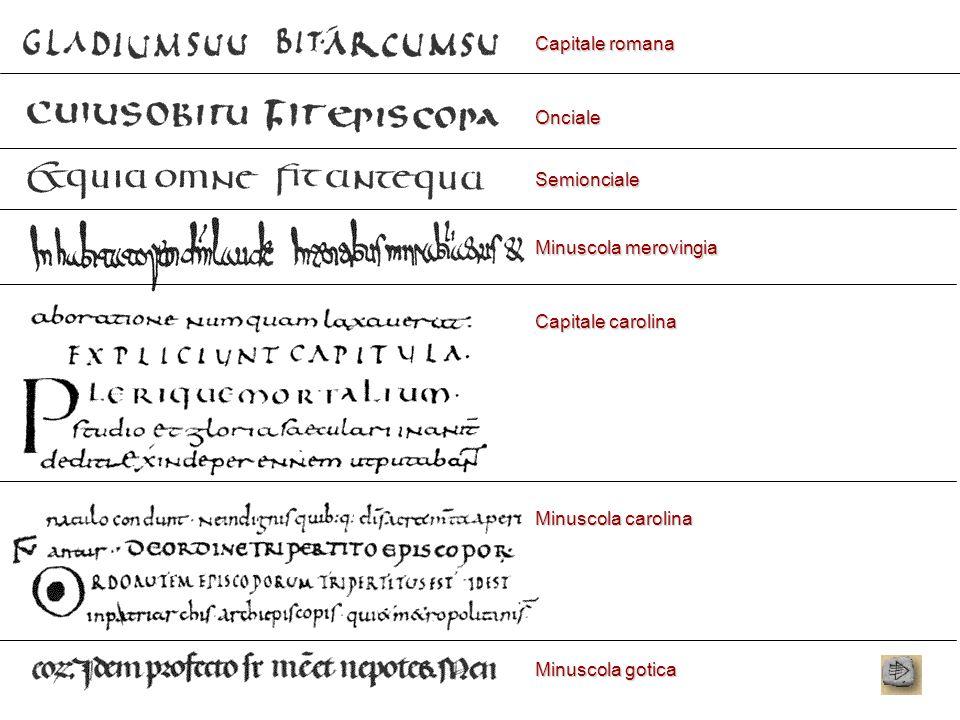 Capitale romana Onciale Semionciale Minuscola merovingia Capitale carolina Minuscola carolina Minuscola gotica