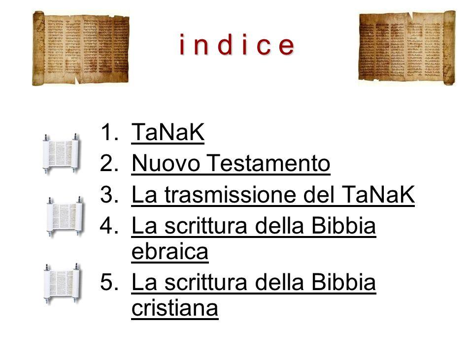 i n d i c e 1.TaNaKTaNaK 2.Nuovo TestamentoNuovo Testamento 3.La trasmissione del TaNaKLa trasmissione del TaNaK 4.La scrittura della Bibbia ebraicaLa