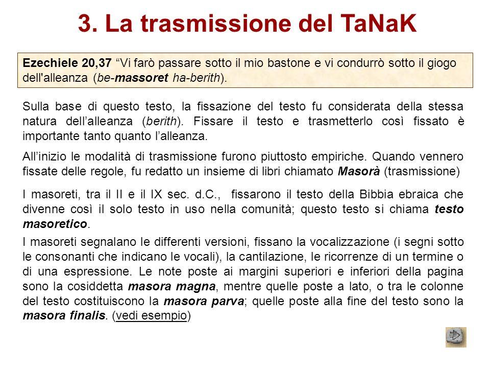 3. La trasmissione del TaNaK Ezechiele 20,37 Vi farò passare sotto il mio bastone e vi condurrò sotto il giogo dell'alleanza (be-massoret ha-berith).