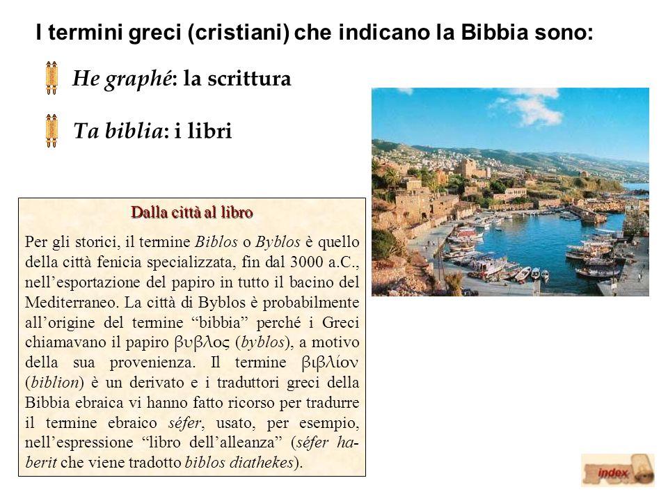 I termini greci (cristiani) che indicano la Bibbia sono: He graphé : la scrittura Ta biblia : i libri Dalla città al libro Per gli storici, il termine