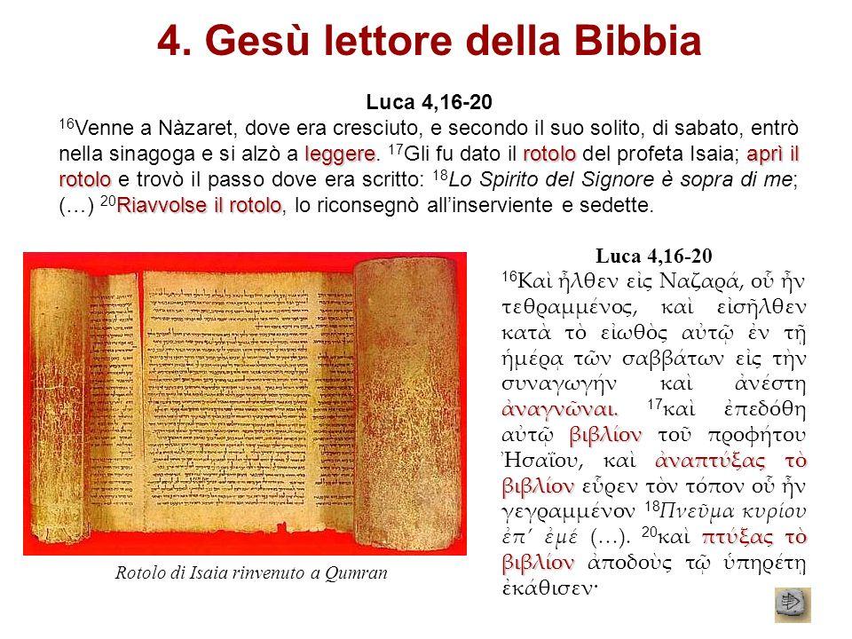 4. Gesù lettore della Bibbia Luca 4,16-20 leggererotolo aprì il rotolo Riavvolse il rotolo 16 Venne a Nàzaret, dove era cresciuto, e secondo il suo so