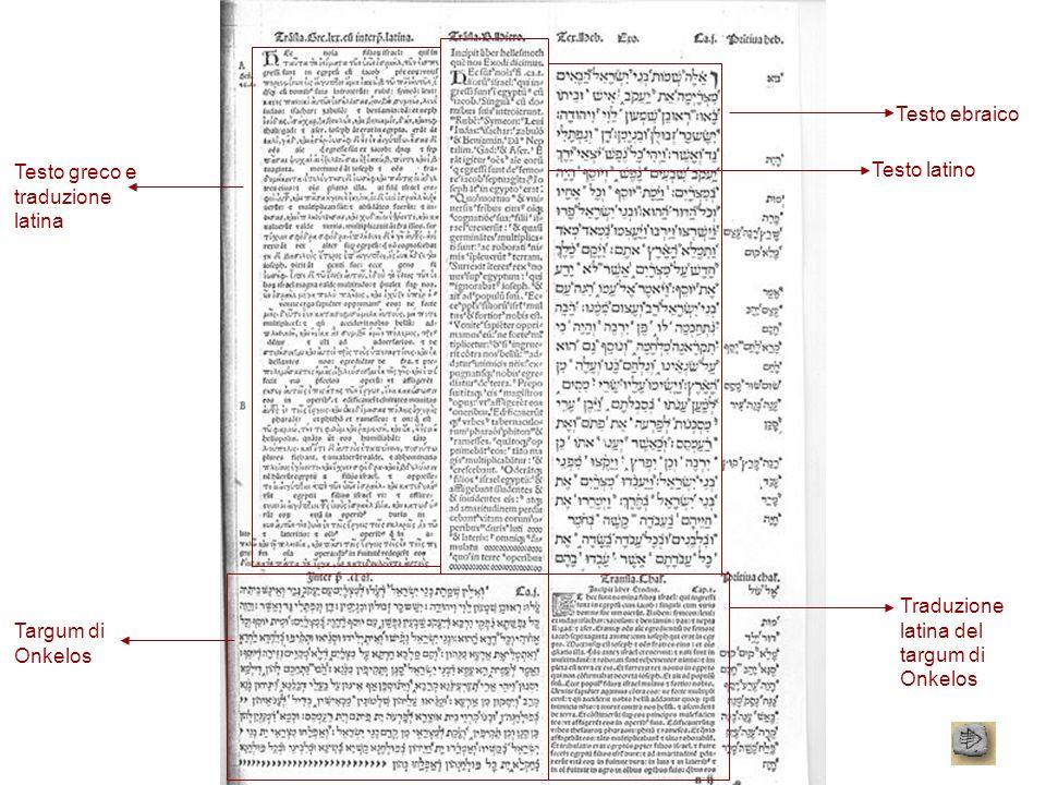 Testo ebraico Testo latino Testo greco e traduzione latina Targum di Onkelos Traduzione latina del targum di Onkelos