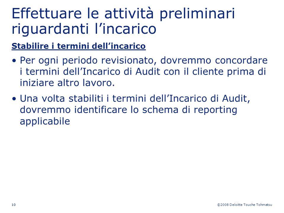 ©2008 Deloitte Touche Tohmatsu 10 Effettuare le attività preliminari riguardanti lincarico Stabilire i termini dellincarico Per ogni periodo revisiona