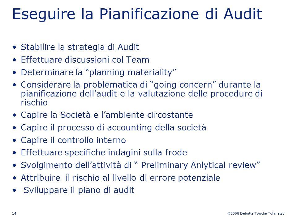 ©2008 Deloitte Touche Tohmatsu 14 Stabilire la strategia di Audit Effettuare discussioni col Team Determinare la planning materiality Considerare la p