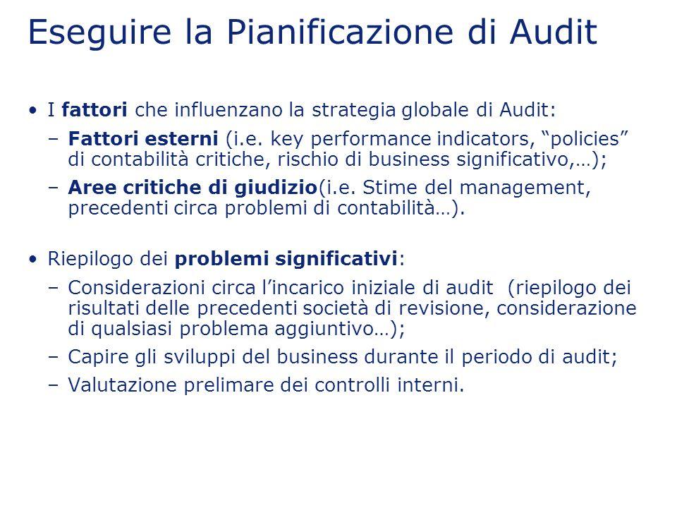 Eseguire la Pianificazione di Audit I fattori che influenzano la strategia globale di Audit: –Fattori esterni (i.e. key performance indicators, polici