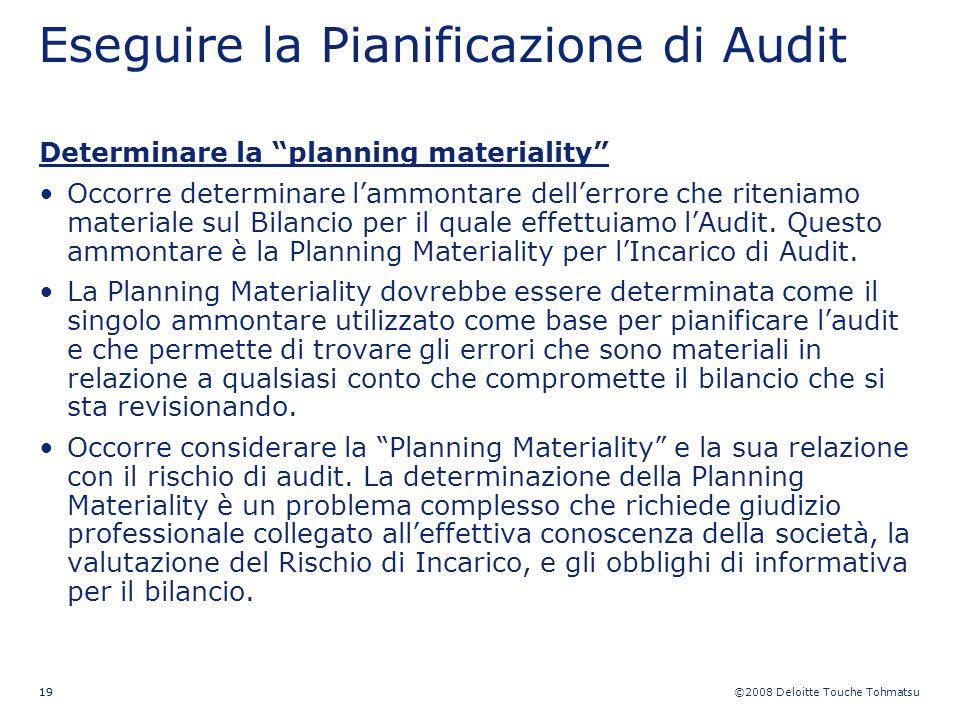 ©2008 Deloitte Touche Tohmatsu 19 Eseguire la Pianificazione di Audit Determinare la planning materiality Occorre determinare lammontare dellerrore ch