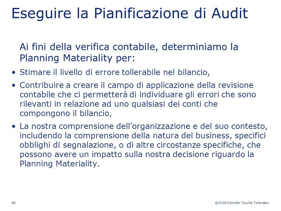 ©2008 Deloitte Touche Tohmatsu 20 Eseguire la Pianificazione di Audit Ai fini della verifica contabile, determiniamo la Planning Materiality per: Stim