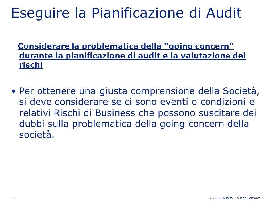 ©2008 Deloitte Touche Tohmatsu 21 Eseguire la Pianificazione di Audit Considerare la problematica della going concern durante la pianificazione di aud