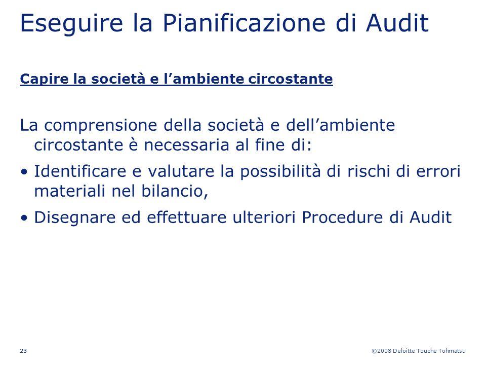 ©2008 Deloitte Touche Tohmatsu 23 Eseguire la Pianificazione di Audit Capire la società e lambiente circostante La comprensione della società e dellam