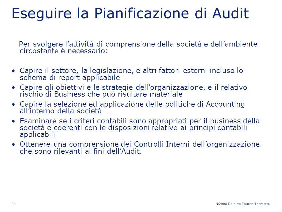 ©2008 Deloitte Touche Tohmatsu 24 Eseguire la Pianificazione di Audit Per svolgere lattività di comprensione della società e dellambiente circostante