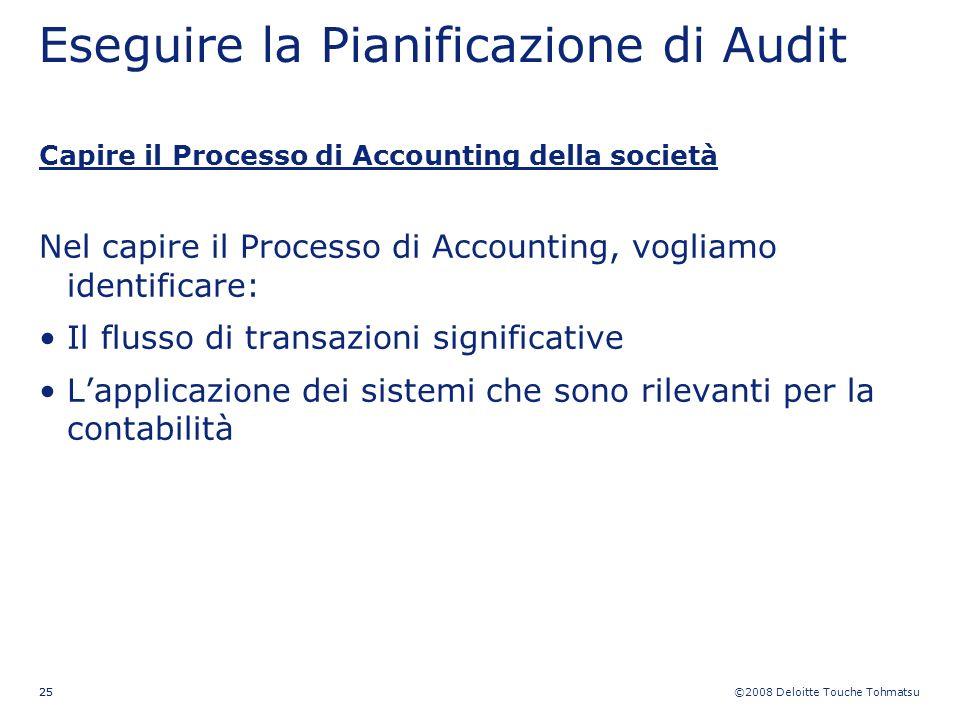 ©2008 Deloitte Touche Tohmatsu 25 Eseguire la Pianificazione di Audit Capire il Processo di Accounting della società Nel capire il Processo di Account
