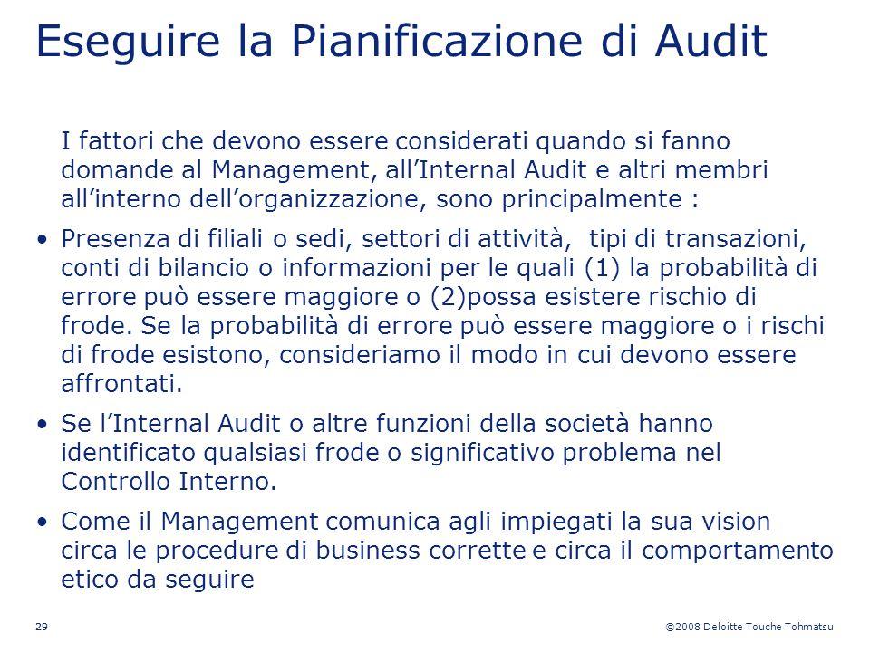 ©2008 Deloitte Touche Tohmatsu 29 Eseguire la Pianificazione di Audit I fattori che devono essere considerati quando si fanno domande al Management, a