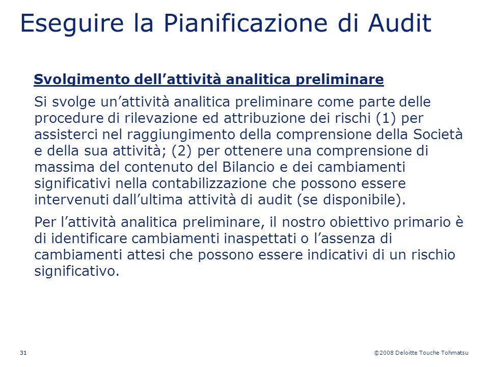 ©2008 Deloitte Touche Tohmatsu 31 Eseguire la Pianificazione di Audit Svolgimento dellattività analitica preliminare Si svolge unattività analitica pr