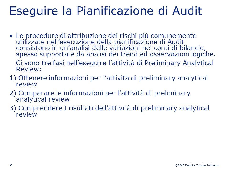 ©2008 Deloitte Touche Tohmatsu 32 Eseguire la Pianificazione di Audit Le procedure di attribuzione dei rischi più comunemente utilizzate nellesecuzion
