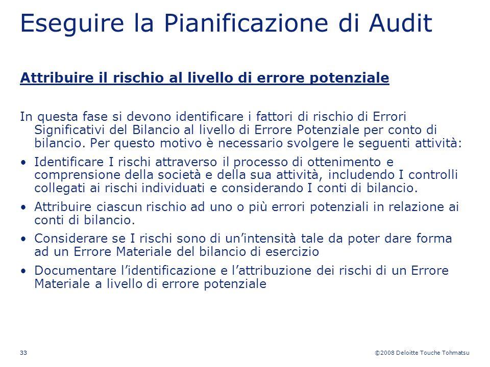 ©2008 Deloitte Touche Tohmatsu 33 Eseguire la Pianificazione di Audit Attribuire il rischio al livello di errore potenziale In questa fase si devono i