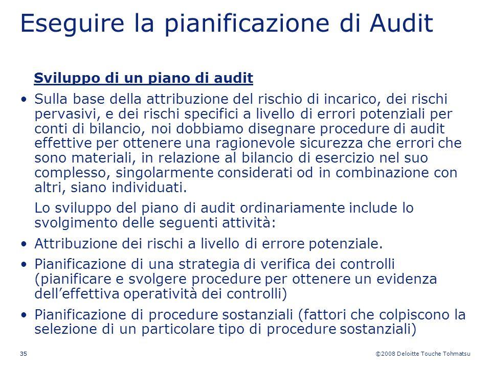 ©2008 Deloitte Touche Tohmatsu 35 Eseguire la pianificazione di Audit Sviluppo di un piano di audit Sulla base della attribuzione del rischio di incar