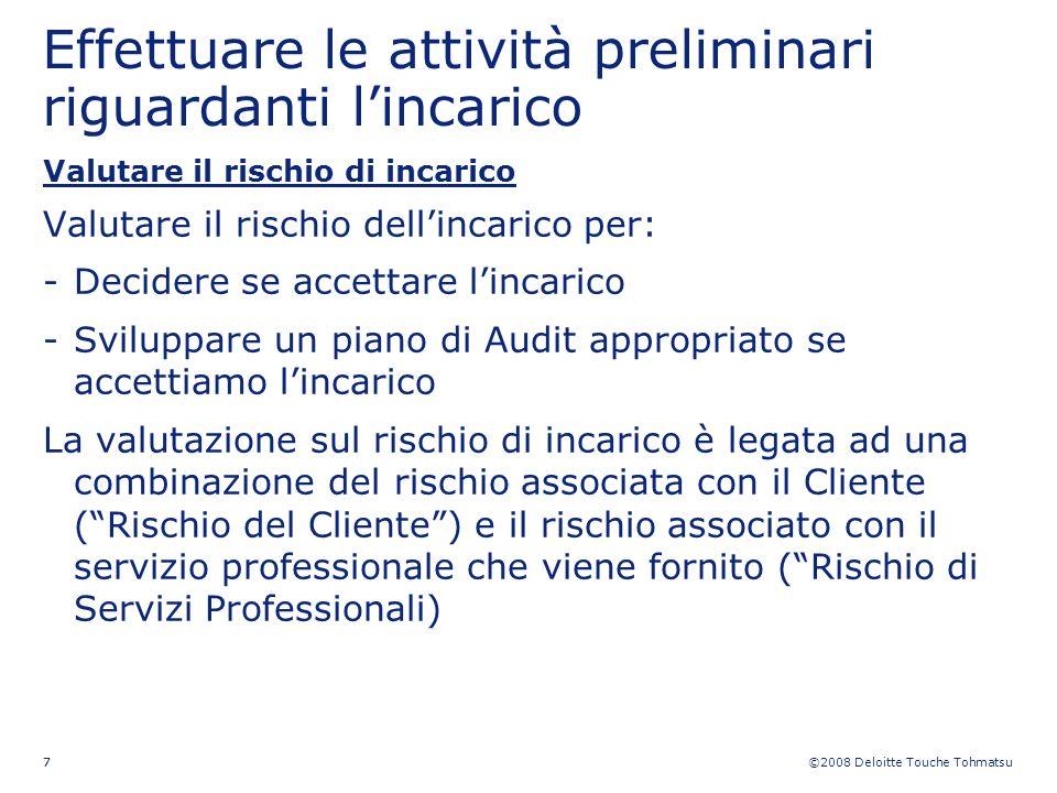©2008 Deloitte Touche Tohmatsu 77 Effettuare le attività preliminari riguardanti lincarico Valutare il rischio di incarico Valutare il rischio dellinc