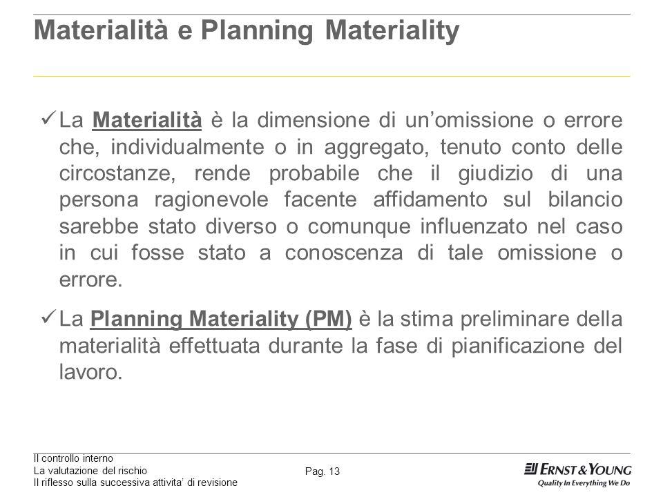 Il controllo interno La valutazione del rischio Il riflesso sulla successiva attivita di revisione Pag. 13 Materialità e Planning Materiality La Mater