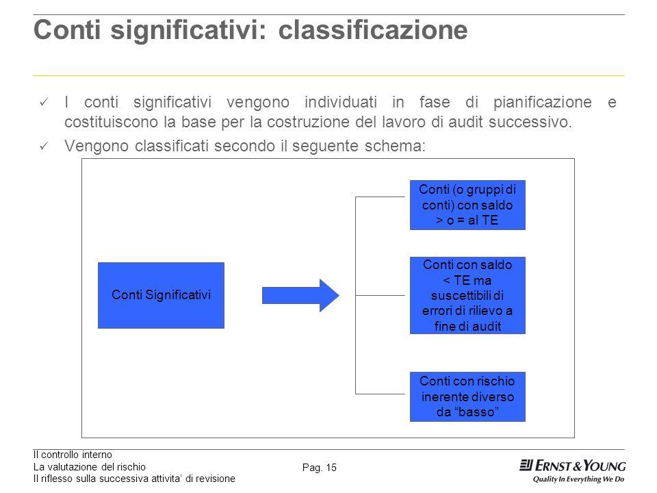 Il controllo interno La valutazione del rischio Il riflesso sulla successiva attivita di revisione Pag. 15 Conti significativi: classificazione I cont