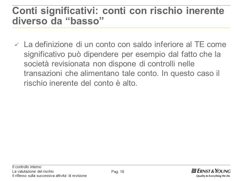Il controllo interno La valutazione del rischio Il riflesso sulla successiva attivita di revisione Pag. 18 Conti significativi: conti con rischio iner