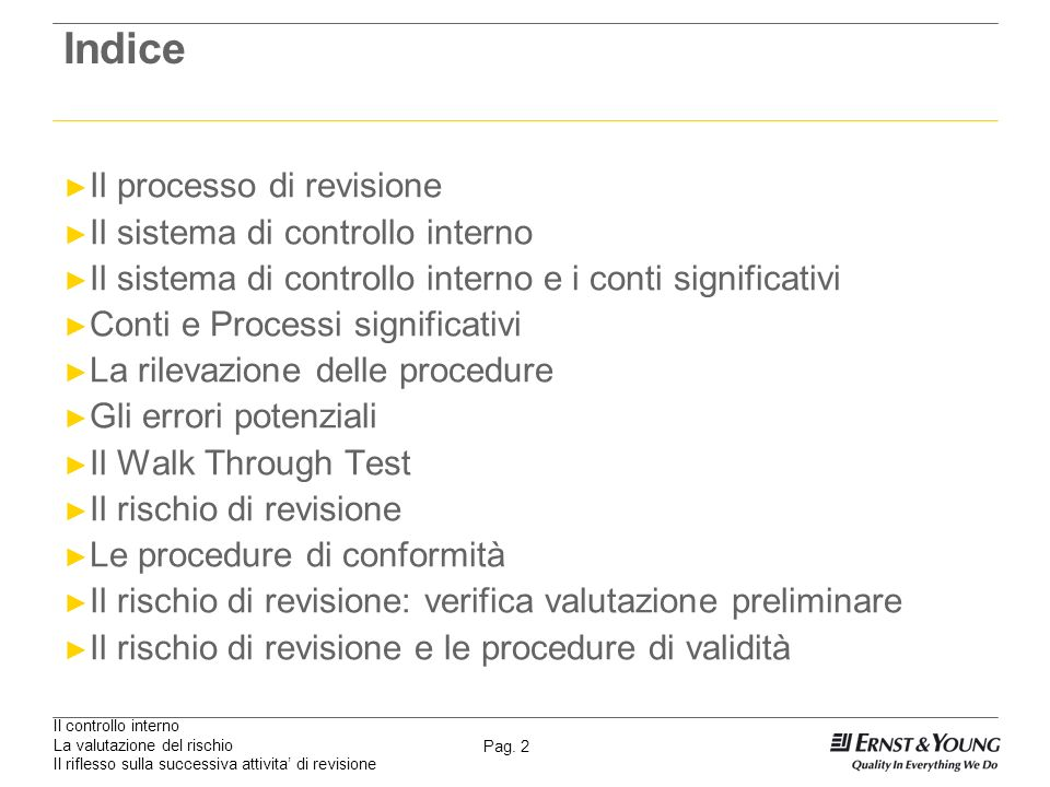 Il controllo interno La valutazione del rischio Il riflesso sulla successiva attivita di revisione Pag. 2 Indice Il processo di revisione Il sistema d