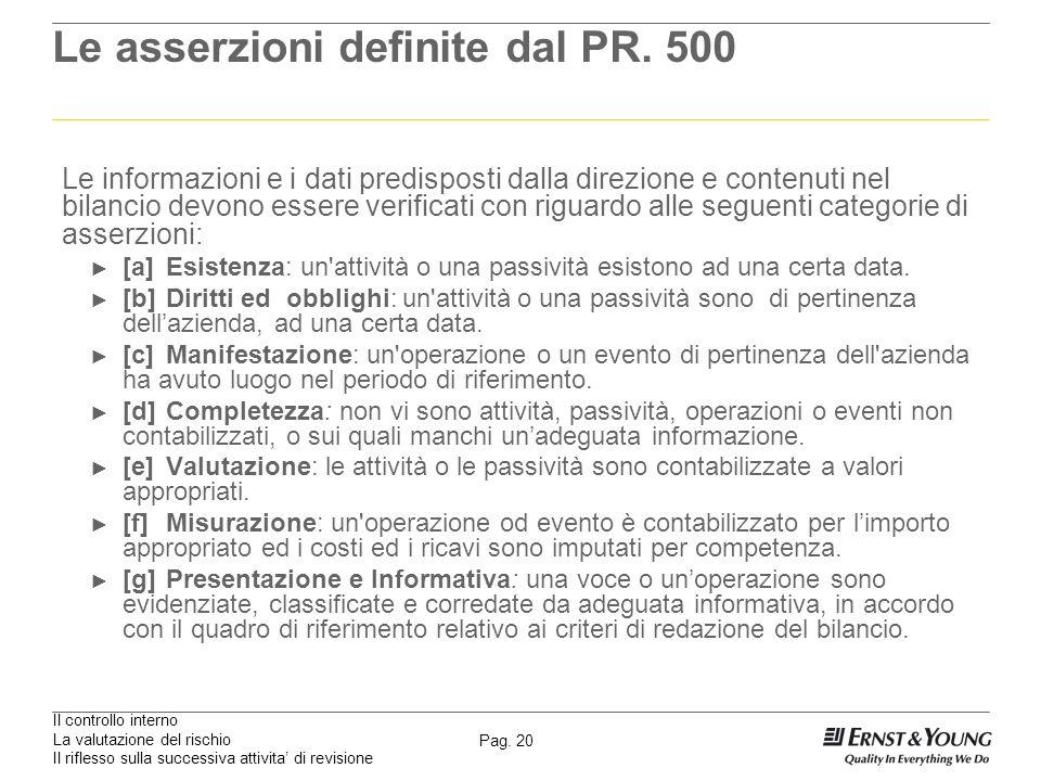 Il controllo interno La valutazione del rischio Il riflesso sulla successiva attivita di revisione Pag. 20 Le asserzioni definite dal PR. 500 Le infor