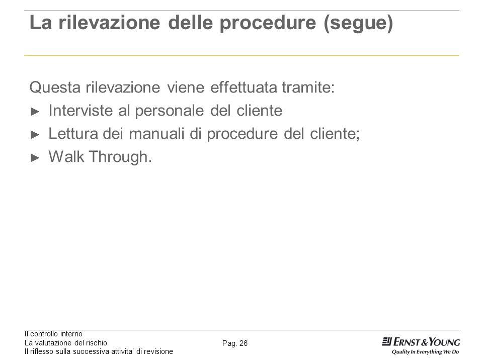 Il controllo interno La valutazione del rischio Il riflesso sulla successiva attivita di revisione Pag. 26 La rilevazione delle procedure (segue) Ques