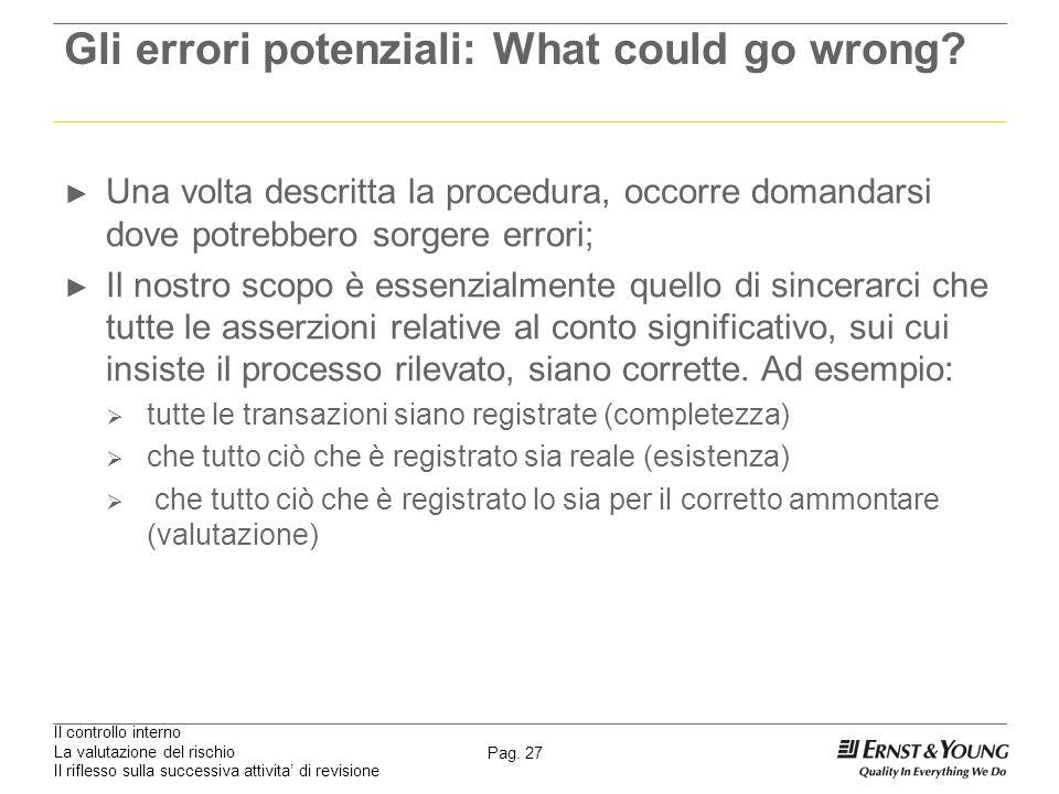 Il controllo interno La valutazione del rischio Il riflesso sulla successiva attivita di revisione Pag. 27 Gli errori potenziali: What could go wrong?
